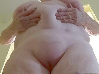 Granny bounces her big belly